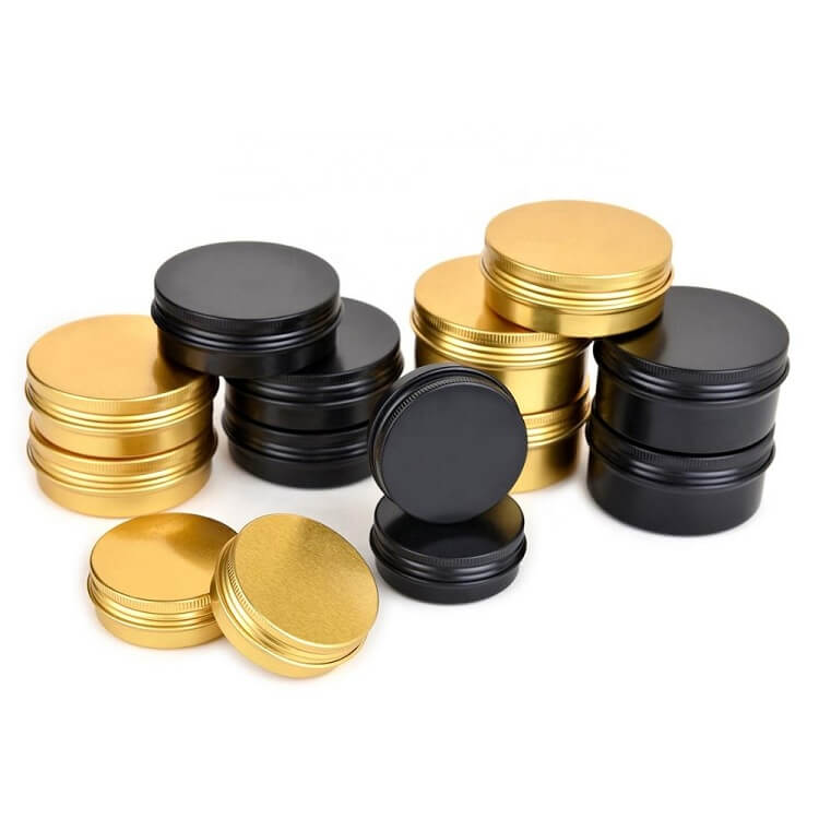 black and gold screw top tins