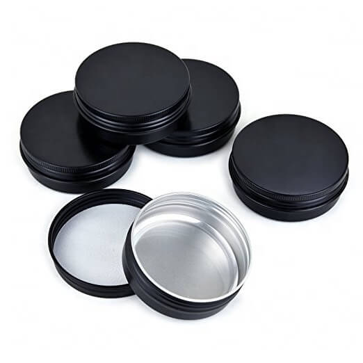 black screw top tins