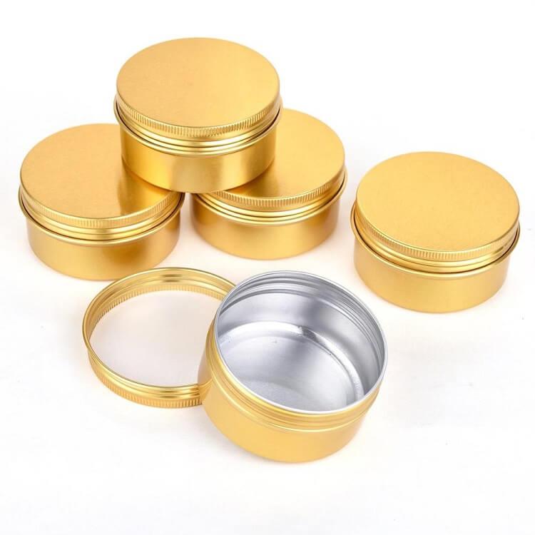 gold screw top tins