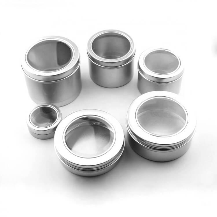 aluminum clear lid tins