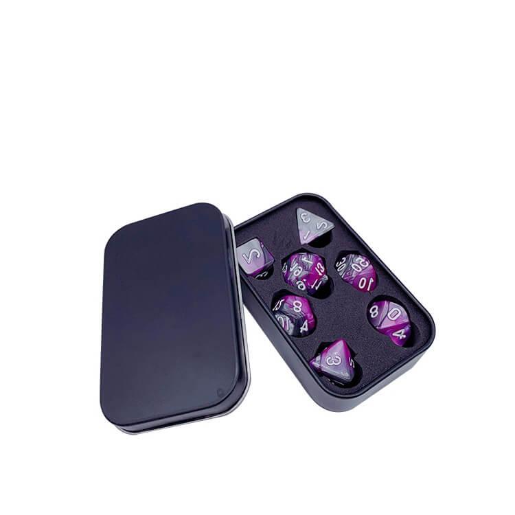 black rectangular tin