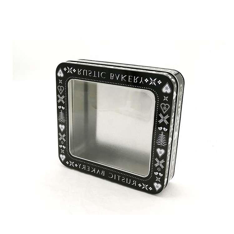 black square lid tin