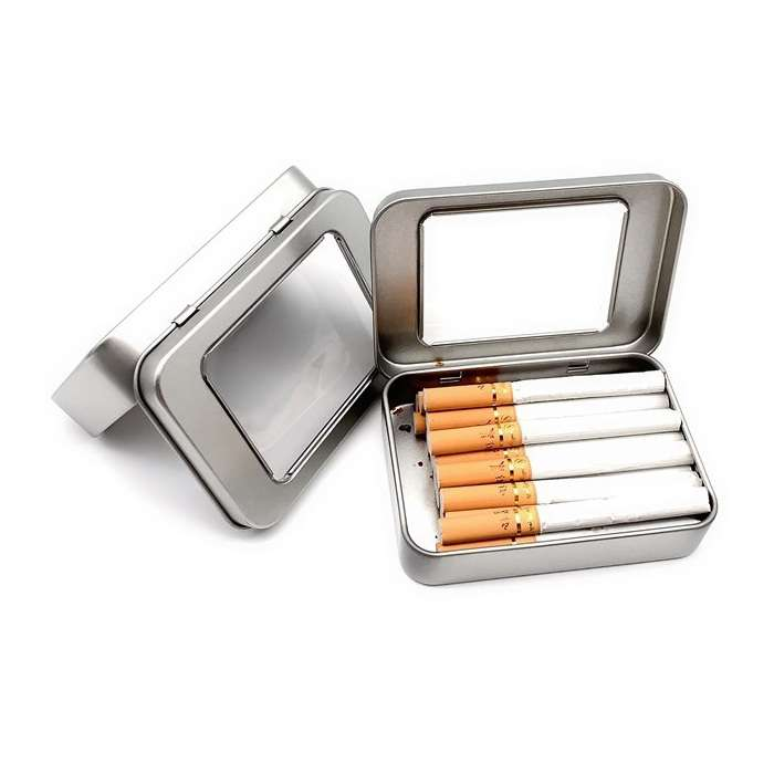hinged window lid rectangular tin
