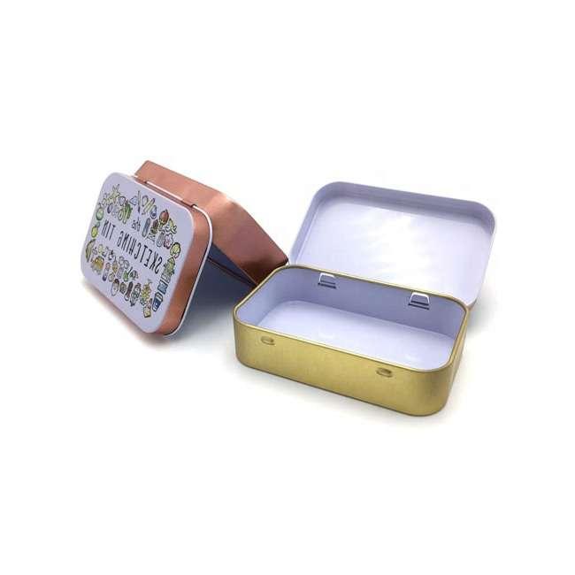 rectangular hinged lid tins open