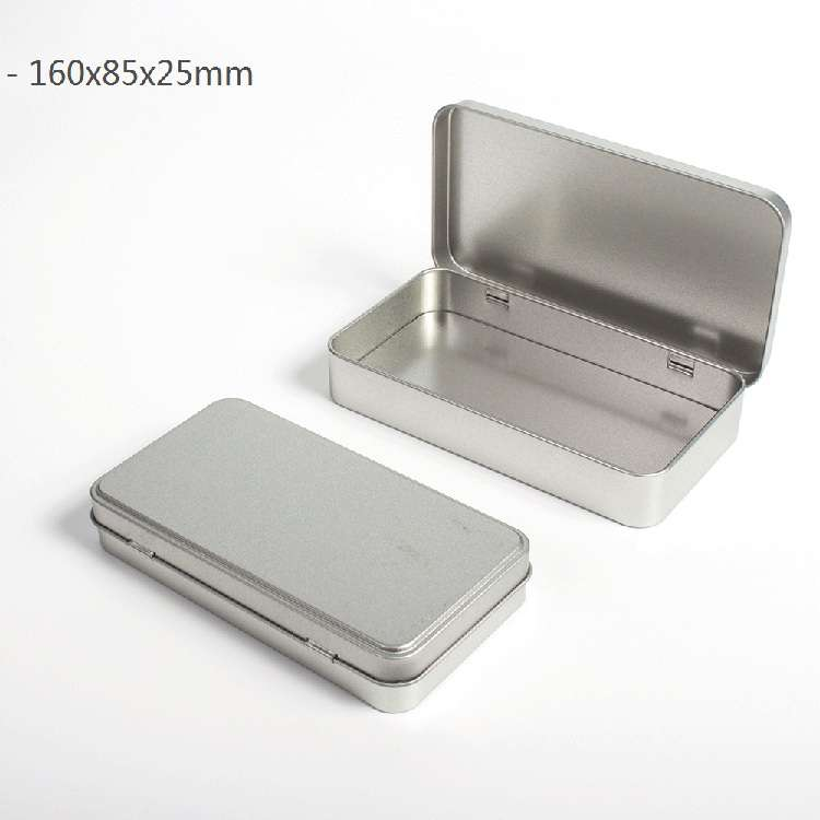 silver rectangular hinged lid tin